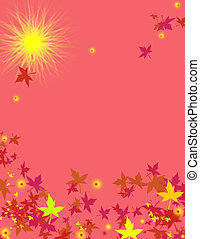 My design using a coral color and sunny sky and falling leaves.