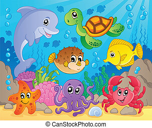 coral, tema, 5, imagem, recife
