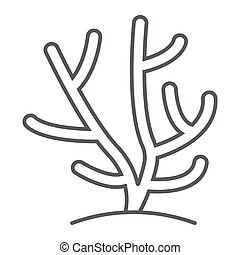 Coral thin line icon, ocean and underwater, tropical sign vector graphics, a linear pattern on a white background, eps 10.