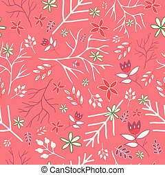 Coral vintage florals seamless pattern
