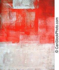 coral, y, beige, arte abstracto