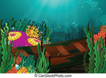 coral, y, bote de remos, en, mar profundo