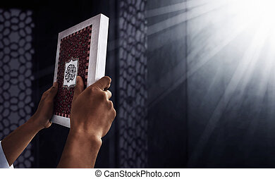 coran, homme, musulman, tenant mains