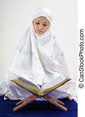 coran, musulman, lecture, femmes