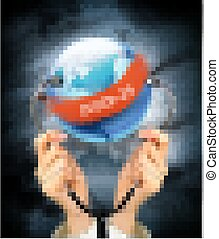 Coranavirus pandemic background with hands holding a stethoscope against a globe. Disaster gloomy backdrop. Vector