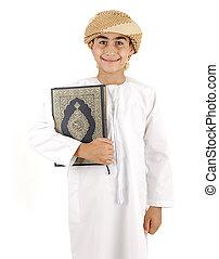 corano, ragazzo, arabo, isolato