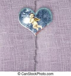 corazón, ángel, navidad, plano de fondo, transparente, tarjeta