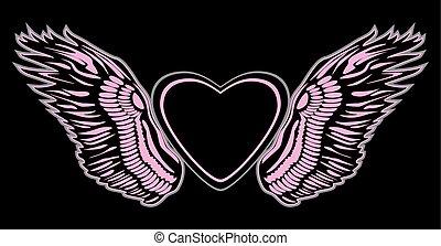 corazón, ángel, señal, fondo., diseño, negro, alas