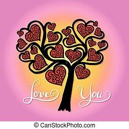 corazón, árbol, con, amor, usted, lettering.