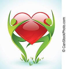 corazón, abrazo, figuras, verde, dos