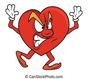 corazón, agresivo, carácter, caricatura