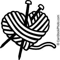 corazón, agujas, lana, pelota