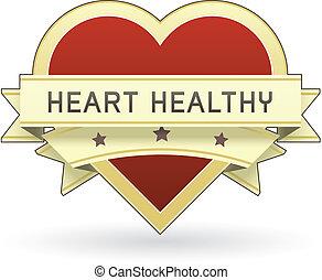 corazón, alimento sano, etiqueta