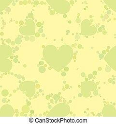 corazón, amarillo, impresión, sitios web, diseño, telas, pattern., seamless, interior, traje, círculos, utilizado, fondo oscuro, tarjeta, 10, palas, illustration., eps, vector, verde, etcétera