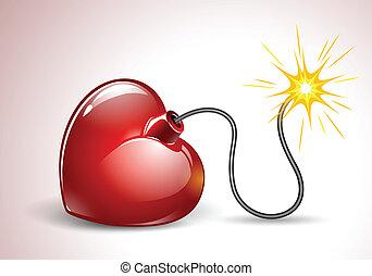corazón, amor, bomba, formado