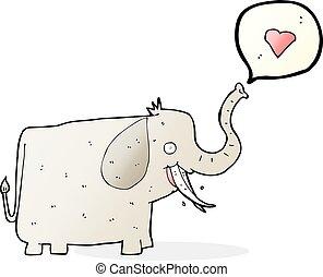 corazón, amor, caricatura, elefante