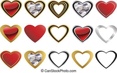 corazón, amor, diamante, dorado, icono
