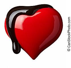 corazón, amor, el escaparse, chocolate, forma, jarabe
