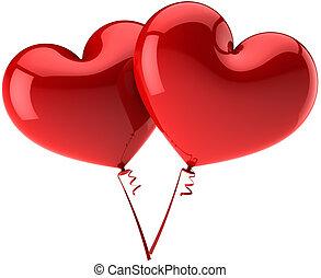 corazón, amor, globos