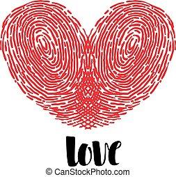 corazón, amor, huella digital