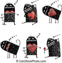 corazón, amor, monstruo, excéntrico, carácter, feo, sketchy, rojo
