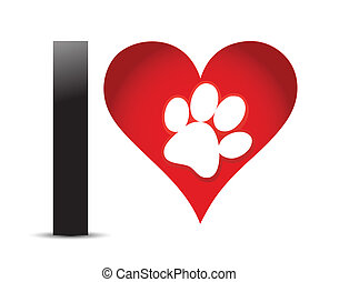 corazón, amor, pata, texto, impresión, rojo