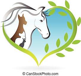 corazón, amor, perro, siluetas, conejo, logotipo, caballo