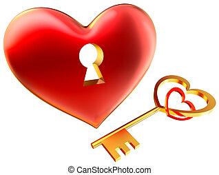 corazón, amor, símbolo, metalic, ojo de la cerradura, rojo