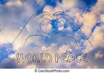 corazón, amor, signo paz, manos, mundo, elaboración