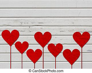 corazón, amor, valentines, madera, tabla, corazones, día