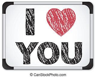 corazón, amor, whiteboard, tiza, escrito, usted, mensaje