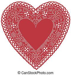 corazón, antigüedad, encaje, mantelito, rojo