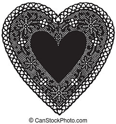 corazón, antigüedad, negro, encaje, mantelito
