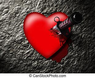 corazón, apuñalado