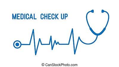 corazón, arriba, illustration., paso, estetoscopio, línea,...