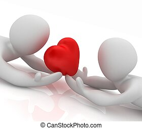 corazón, asideros, seres humanos, acostado, 3d