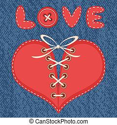 corazón, atado, amor