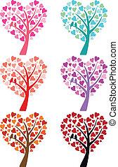 corazón, aves, vector, árbol