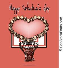 corazón, baloncesto, día, pelotas, valentino