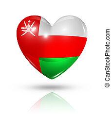 corazón, bandera, amor, omán, icono