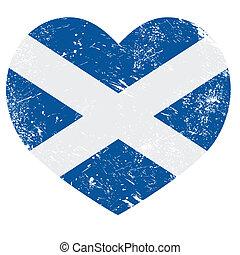 corazón, bandera, escocia, retro