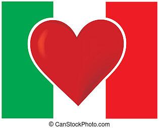 corazón, bandera, italia
