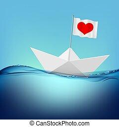 corazón, bandera, papel, rojo, barco