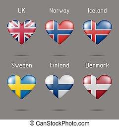 corazón, banderas europeas, forma
