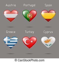 corazón, banderas, forma