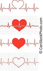 corazón, beat., cardiogram., cardíaco, cycle., médico, icon.