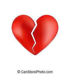 corazón, blanco, aislado, roto