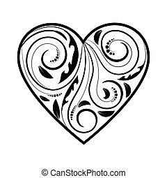 corazón, blanco, ornamento, aislado, negro