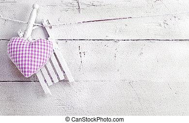 corazón, blanco, tablas, romántico