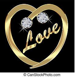 corazón, bling, oro, diamantes